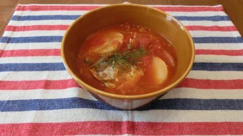 鯖缶のホットトマトスープ
